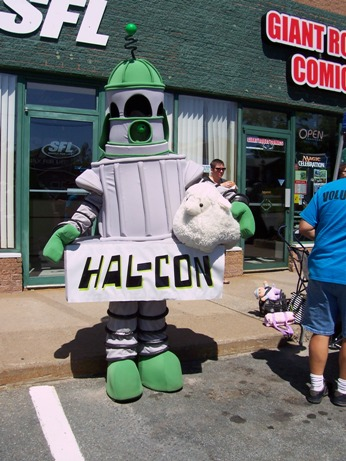 Hal-Con's Mascot, Nelson, with Acton the Sheep
